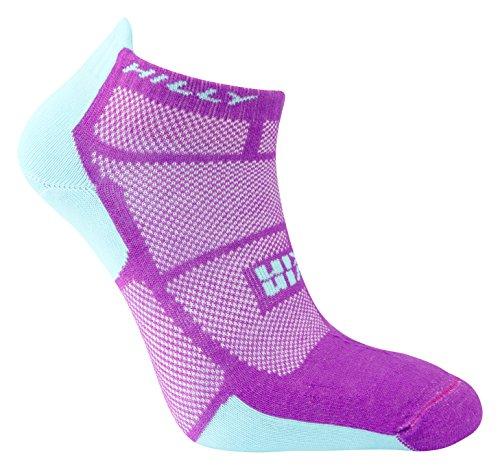 (Hilly Women's Twin Skin Socklet Socks, Purple/Aquamarine, Medium)
