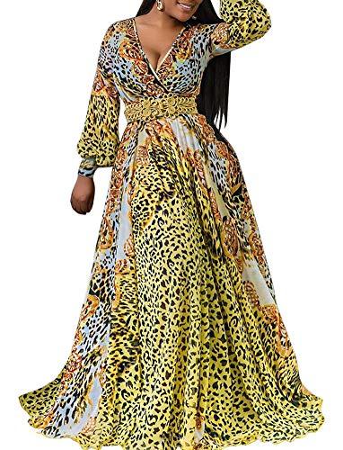 Womens Stylish Chiffon V-Neck Printed Leopard Maxi Dress with Waisted Belt Plus Size(S-XXL) ()