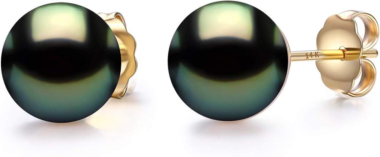 9-10mm Tahitian Black Pearl 14K Yellow Gold Chain Post Earrings