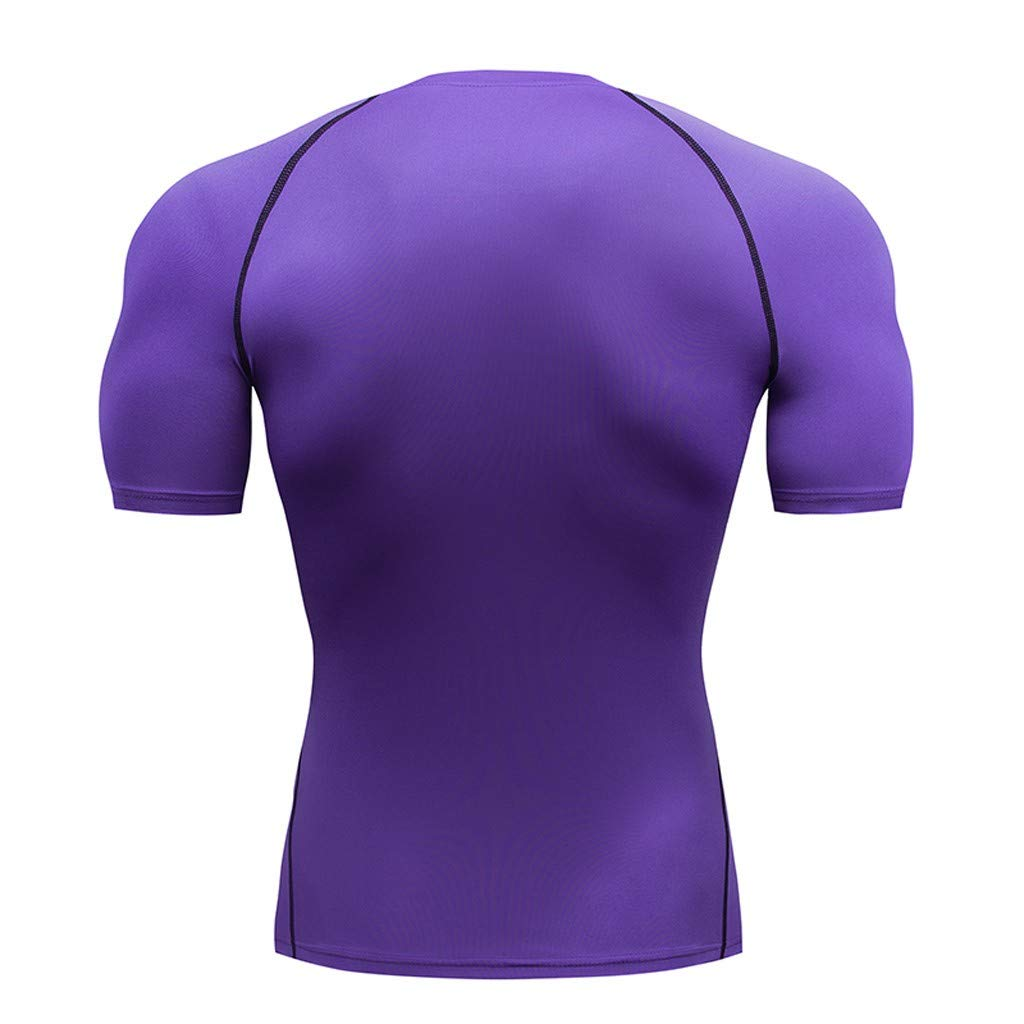 Men Fitness Fast Drying Elastic Breathable Sports Tight Short Sleeve Top T-Shirt