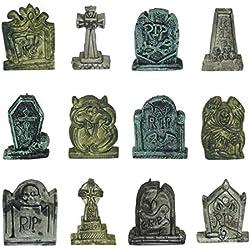 JOYIN Set of 12 Miniature Tombstones for Halloween Decorations