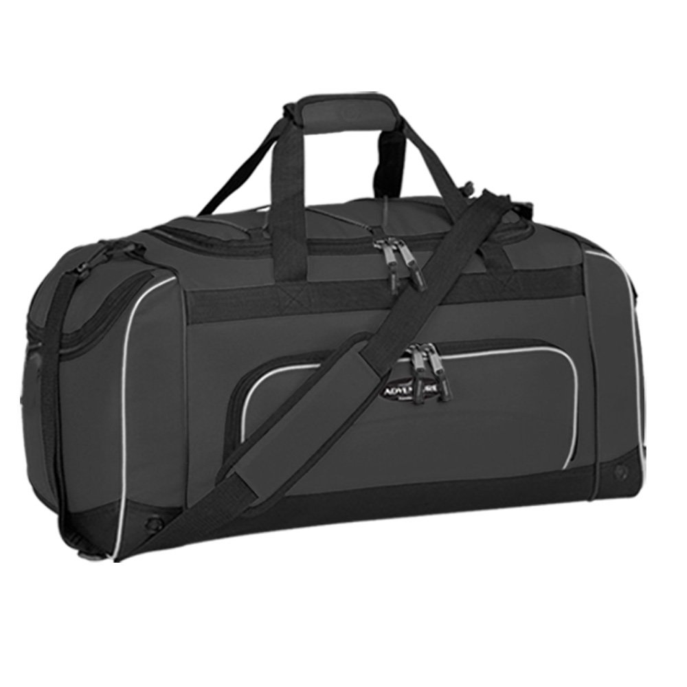 24'' Adventure by Travelers Club Luggage Multi-Pocket Sport Duffel with Shoe Pocket, Adjustable & Detachable Shoulder Strap, Mesh Water Pocket, and Spacious Packing Compartment, Black Color Option