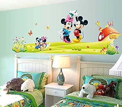 Wall Sticker Decal Mickey And Minnie Mouse Mashroom Butterfly And Flowers  Kids Room Decor Mural Nursery
