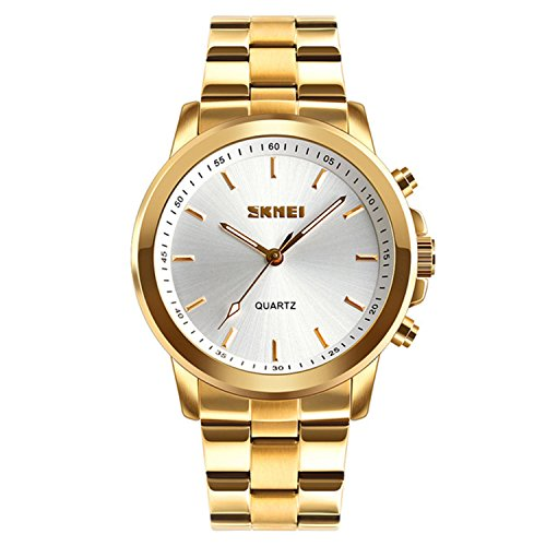 Men's Stainless Steel Quartz Watch Classic Business Luxury Multi-function Sports Watch, Bluetooth, SOS Help, Call Alert, Remote Shoot, Analog Smart Watch (Golden)