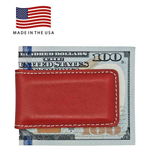 (Red American Saddle Genuine Leather Magnetic Money Clip – American Factory Direct - Money Holder - Made in USA by Real Leather Creations FBA1060)
