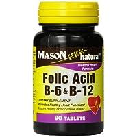 Mason Natural, Fórmulas para el corazón B6 /B12 /Comprimidos de ácido fólico, Frascos de 90 unidades (paquete de 3), Suplemento dietético compatible con la salud cardiovascular, Formación de glóbulos rojos, Función metabólica