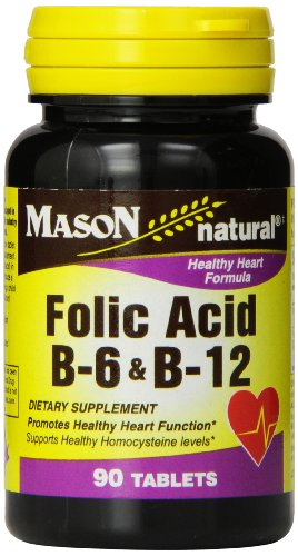 Folic Acid 30 Tablets (Mason Natural, Heart Formula B6/B12/Folic Acid Tablets, 90-Count Bottles (Pack of 3), Dietary Supplement Supports Cardiovascular Health, Red Blood Cell Formation, Metabolic Function)