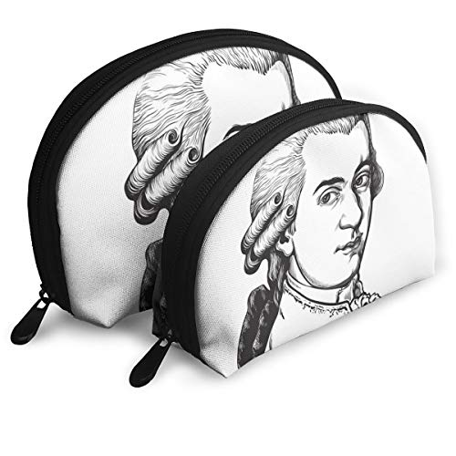 Zimubeikebao456 Wolfgang Amadeus Mozart Portrait Women¡¯s Travel Cosmetic Bags Waterproof FabricSmall Makeup Clutch Pouch Cosmetic and Toiletries Organizer Bag Portable Travel Toiletry Pouch