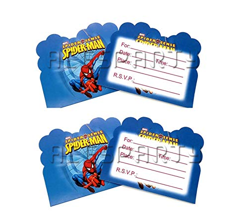 Astra Gourmet Spiderman Invitations Birthday Party Cards - 12 Invite Card for Girls Boys Birthdays Kids Party Spiderman Themed Baby Shower ()