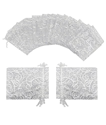 Wedding Favor Bags (Wuligirl 100 PCS White with Silver Organza Gift Bags with Drawstring Party Wedding Favor Gift Bags Candy Jewelry Bags ( 100 pcs White Silver, 3.54x4.72