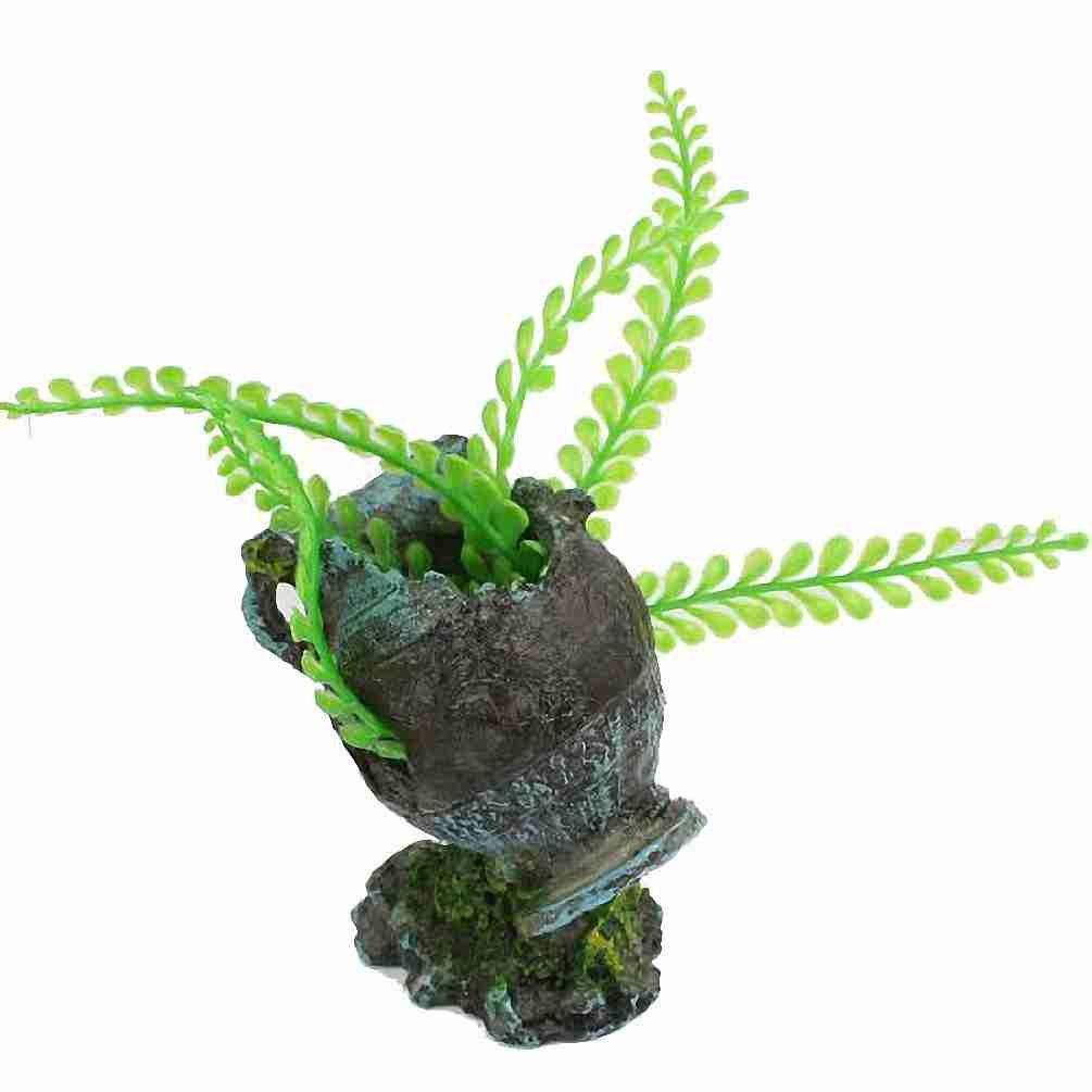 Rocas Simulación pecera Plantas Detalle Acuario Broken Vase Ornamento Gris Verde: Amazon.es: Hogar