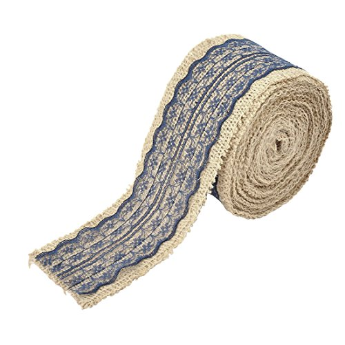 uxcell Burlap Celebration Festival DIY Handcraft Gift Wrapping Ribbon Roll 5.5 Yards Navy Blue by uxcell