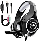 Beexcellent Gaming Headset for PS4 Xbox One PC Nintendo Switch (Audio) with Noise Isolation Mic Crystal Stereo Surround Sound LED Lights (GM-1) (Grey)