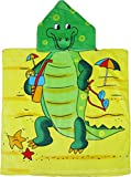 Kreative Kids Alligator 100% Cotton Poncho Style Hooded Bath & Beach Towel with Colorful Double Sized Design