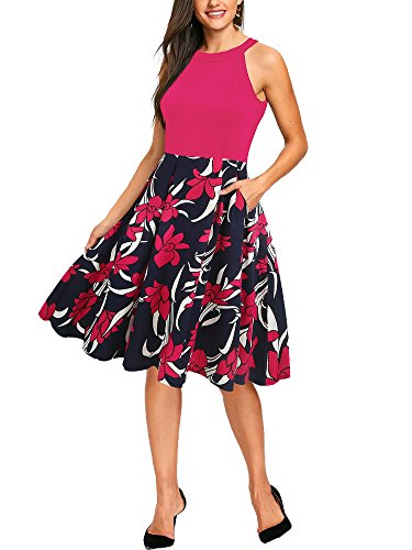 oxiuly Women's Vintage Halter Neck Floral Patchwork Pockets Casual Work Business Knee-Length A-Line Dress OX257 (XL, Rose (Halter Knee Length Dress)