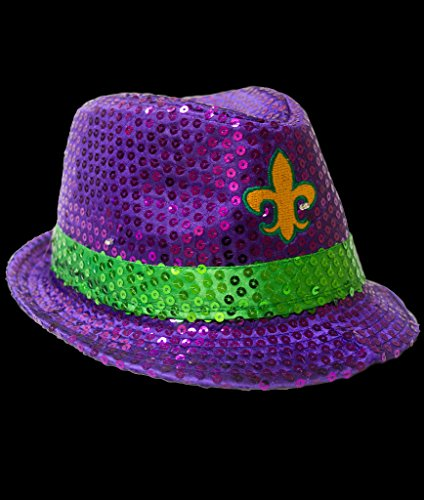 Fun Central AU269 1ct LED Mardi Gras Sequin Fedora, Mardi Gras Hats for Men, Fedora Hats for Women, Mardi Gras Fedora - Purple Green Yellow Hat Mardi Gras Costume