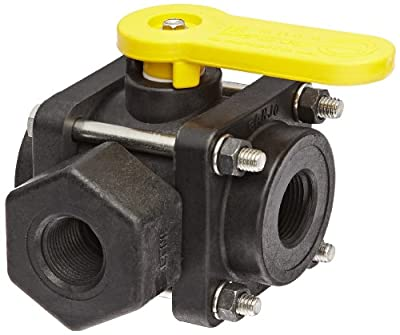 "Banjo V075SL Polypropylene Side Load Ball Valve, Three Piece, Three Way, Full Port, 3/4"" NPT Female by Banjo Corporation"