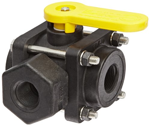 Banjo V075SL Polypropylene Side Load Ball Valve, Three Piece, Three Way, Full Port, 3/4