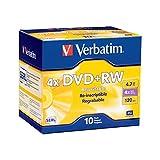 Verbatim 94839 4.7 GB 1x- 4x ReWritable Disc DVD+RW, 10-Disc Slim Jewel Case