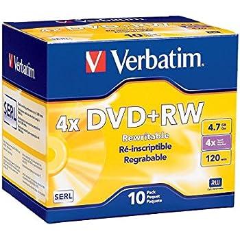 Verbatim DVD+RW 4.7GB 4X Surface - 10pk Jewel Case