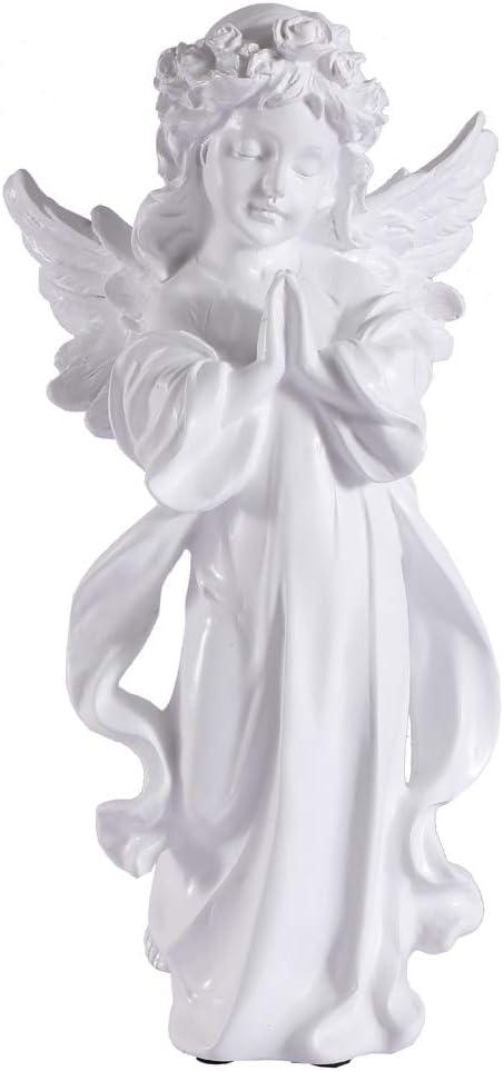 "Lovecat Resin Angel Figurine, Flower Girl Decoration, Beautiful Prayer Faerie, Home Decor Fairy Prayer, Angel Statue for Birthday Valentine Christmas New Year Thanksgiving Gift (White, 30cm/11.81"")"