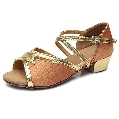 YFF Frauen Kinder Mädchen Latein Tango Ballroom Dance Schuhe Frauen Tanzschuhe Absatz 3,5cm, 603 Gold, 7.