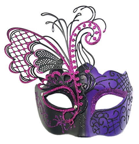 Coolwife Masquerade Masks Women Flying Butterfly Metal Venetian Party Evening Prom Mask (Black-Purple)]()