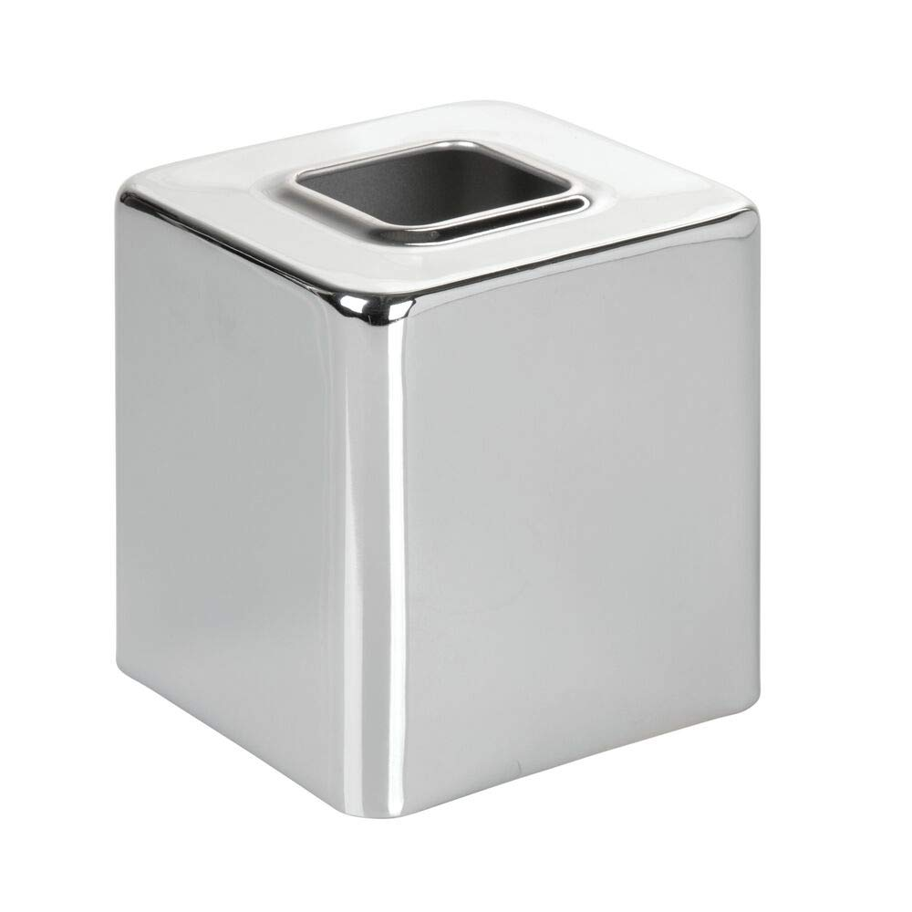 mDesign Modern Square Metal Paper Facial Tissue Box Cover Holder for Bathroom Vanity Countertops, Bedroom Dressers, Night Stands, Desks and Tables, 4 Pack - Chrome by mDesign (Image #6)