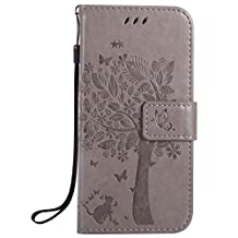 HTC M9 Case, Abtory Magnetic Closure PU Leather [Tree] [Card Slots] [Stand Feature] Folio Flip Wallet Protective Phone Case for HTC One M9 Grey