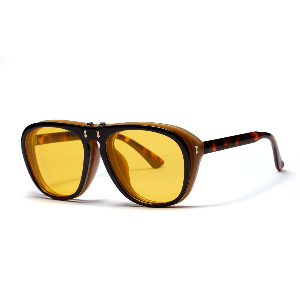 Big Size Sunglasses Men Fashion Flip Up Sun Glasses for Women Summer Beach 2018 (leopard with yellow)