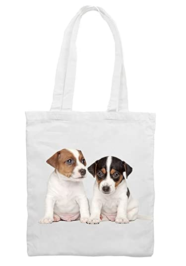 Jack Russell Puppies Cotton Shoulder Shopping Bag: Amazon.co.uk ...