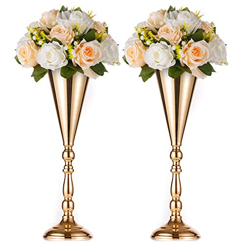 Sfeexun Tabletop Metal Wedding Flower Trumpet Vase Table Decorative Centerpiece Artificial Flower Arrangements for Anniversary Ceremony Party Birthday Event Aisle Home Decoration (2 x L, Gold)