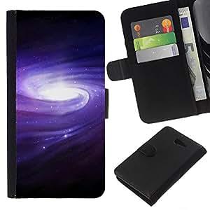 KingStore / Leather Etui en cuir / Sony Xperia M2 / Púrpura azul de la galaxia del espacio Cluster Spiraling Estrellas