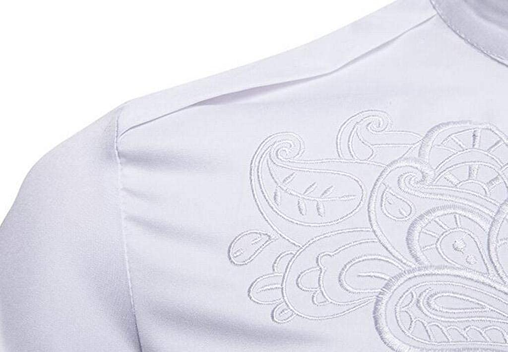 BOBOYU Men Embroidery Trendy England Plus Size Long Sleeve Palazzo Casual Button Down Dress Shirts