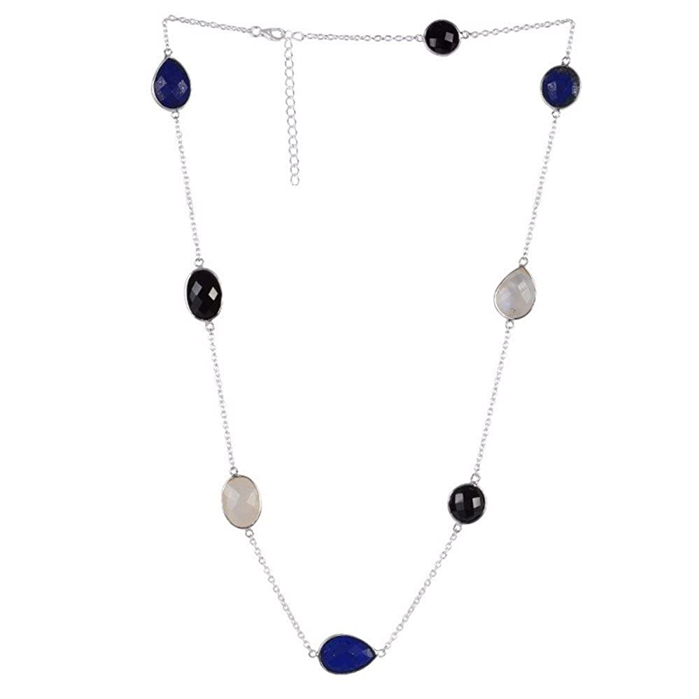 Nathis Black Onyx Lapis Rainbow Moonstone Gemstone Necklaces