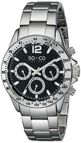 SO&CO New York Men's 5001.1 Monticello Quartz Black Dial Day and Date Stainless Steel Link Bracelet Watch