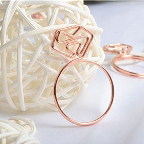 Shoppingmoon Cute Diamond Ring Shaped Paper Clips Metal Note Clips for Office School Wedding Decoration Pack 12pcs