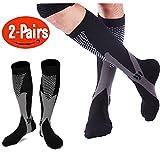 2 Pairs Compression Socks Women & Men - Unisex 20-30mmHg Graduated Knee High