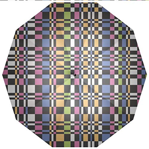 Sun umbrella, umbrella UV Protection Auto Open Close Colorful,Abstract Checkered Pattern Geometric Optical Artwork Psychedelic Striped Windproof - Waterproof - Men - Women -Lightweight- 45 inches