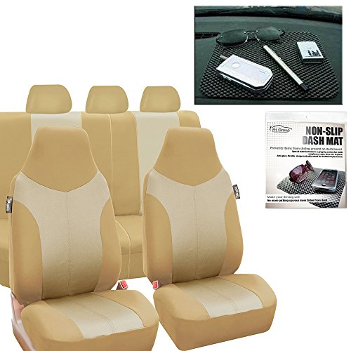 (FH Group FH-FB101115 Supreme Twill Fabric High Back Car Seat Covers Beige/Tan (Full Set Airbag Ready and Split Rear Bench) FH1002 Non-Slip Dash Pad-Fit Most Car, Truck, SUV, or Van)