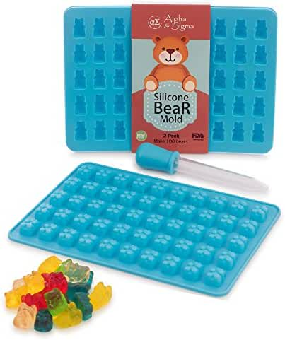 Premium 2 Pack 50 Cavity Gummy Bear Molds By Alpha & Sigma - Non-Stick Silicone Candy Mold Trays - Food Grade & BPA Free - Create Delicious Desserts - Suitable For Candy, Chocolate, Jelly, Ice Cream