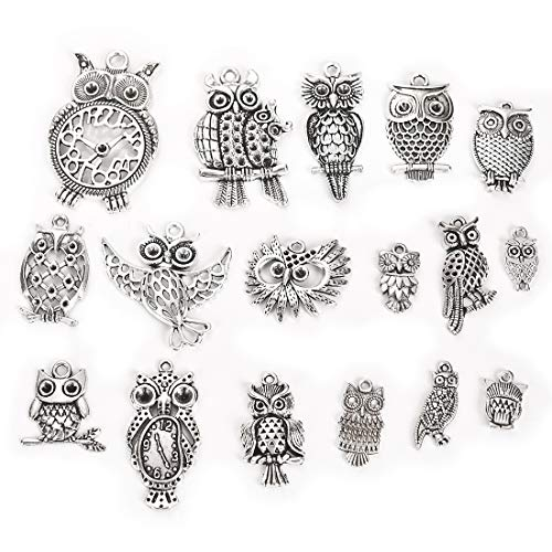 (Owl Mixed Charms Wholesale Bulk Lots Antique Silver Pendants DIY for Necklace Bracelet Jewelry Making Crafting 34Pcs)