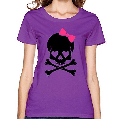 SNOWANG Women's Girlie Skull T-shirt XS -