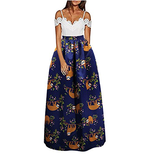 C.C-US Women African Floral Print A Line Maxi Skirt Pleated High Waist Beach Skirts with Pockets