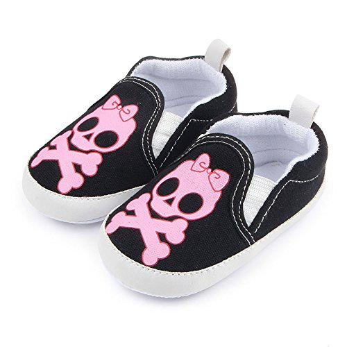 ACVIP Baby Toddler Girls Skull Head Print Canvas Slip On Crib Shoes Sneakers