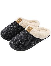 ULTRAIDEAS Women's Comfort Memory Foam Slippers Wool-Like Plush Fleece Lined Indoor & Outdoor House Shoes