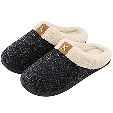 Women's Comfort Memory Foam Slippers Wool-Like Plush Fleece Lined House Shoes w/Indoor, Outdoor Anti-Skid Rubber Sole (Small / 5-6 B(M) US, Space Black)