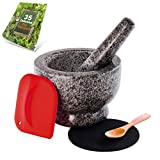 Granite Mortar and Pestle Set - Molcajete - Guacamole Bowl With Polished Exterior, Stylish Grey Grinder And Crusher - WITH Wooden Spoon, Silicone Mat & Scraper, And Dip Recipe Ebook