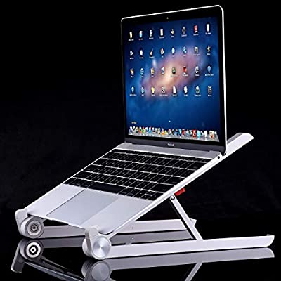 Laptop Stand, Adjustable Notebook Stand Portable Desktop Stand Foldable  Ergonomic Holder Mount for MacBook Notebook iPad Tablet (White)