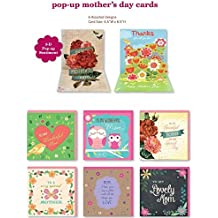 Assorted Handmade Embellished Pop up Mothers Day Cards Box Set, 6 Pack Mom Card Assortment For Her, Sister, Grandmother